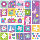Kids birthday set pattern. Flowers, hearts, fish, present, ladybug, butterflies, houses, boat, sea shells, candles, cow, balloon and abstract circles collection Stock Photos