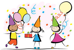 Kids birthday. Smiling kids on birthday party. EPS8 without transparent and gradients, easy to edit Stock Photography