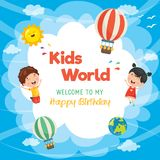 Kids Birthday Template Vector Illustration. Eps 10 Stock Photography
