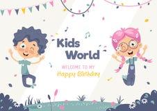 Kids Birthday Template Vector Illustration Royalty Free Stock Image