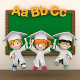Kids and black board Stock Photography