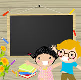 Kids and blackboard Royalty Free Stock Photography