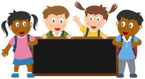 Kids with Blackboard Banner. A group of four multicultural kids with schoolbags holding a blank blackboard. Eps file available stock illustration