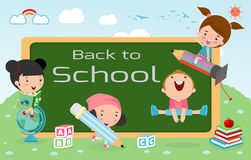 Kids and blackboard, Children and board, kids education, education concept, back to school template with kids, Kids go to school, Stock Images