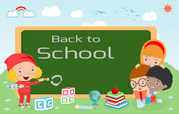 Kids and blackboard, Children and board, kids education, education concept, back to school template with kids, Kids go to school,. Back to school, Cute cartoon Royalty Free Stock Images
