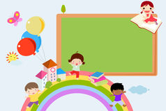 Kids and blackboard frame Royalty Free Stock Images