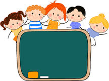 Kids and blackboard Stock Photography