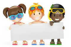 Kids and blank board Royalty Free Stock Image