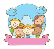Kids and Blank Ribbon Stock Photography