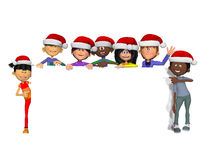 Kids with a blank  sign and christmas hats Royalty Free Stock Photo