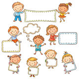Kids with Blank Signs vector illustration