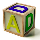 Kids Block Spelling Dad As Symbol for Fatherhood. Kids Wooden Block Spelling Dad As Symbol for Fatherhood And Parenting Stock Photo
