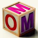 Kids Block Spelling Mom As Symbol for Motherhood. Kids Wooden Block Spelling Mom As Symbol for Motherhood And Parenting Royalty Free Stock Photos