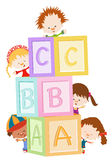 Kids With Blocks. Kids Playing With Alphabet Blocks stock illustration