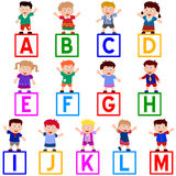 Kids & Blocks [A-M]. Kids and blocks alphabet, A-M. You can choose and combine the letters. Eps file available stock illustration