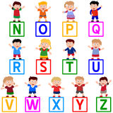 Kids & Blocks [N-Z]. Kids and blocks alphabet, N-Z. You can choose and combine the letters. Eps file available royalty free illustration