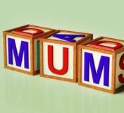 Kids Blocks Spelling Mum As Symbol for Motherhood. Kids Wooden Blocks Spelling Mum As Symbol for Motherhood And Parenting Stock Images