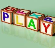 Kids Blocks Spelling Play As Symbol for Fun Stock Photos