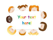 Kids with board. Kids heads with board for text Royalty Free Stock Photo