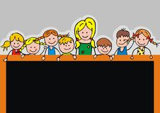 Kids and board Royalty Free Stock Photo