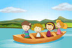 Kids in a boat Stock Photo