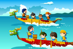 Kids in a boat race Royalty Free Stock Images