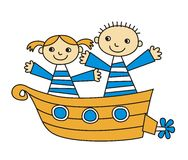 Kids on a boat trip Royalty Free Stock Photo