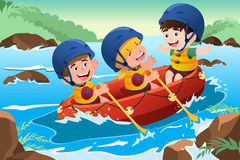 Kids on boat. A vector illustration of three happy kids on boat stock illustration