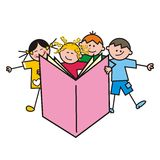 Kids and book Stock Image
