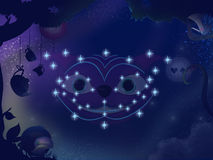 Kids book illustration. Cheshire cat constellation. Royalty Free Stock Photos