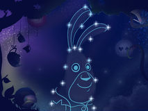 Kids book illustration. Rabbit constellation. Royalty Free Stock Photography
