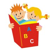 Kids and book. Smile face. Vector icon Royalty Free Stock Images