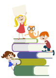 Kids on the books Royalty Free Stock Images