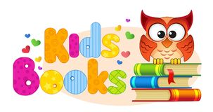 Kids books. Banner with owl on a pile of books Stock Photography