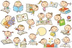 Kids and Books. Funny doodle kids with books in different poses. No gradients used, easy to print and edit. Vector files can be scaled to any size vector illustration