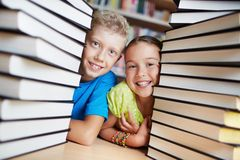 Kids and books Stock Photography