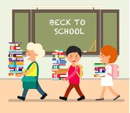 Kids with Books. Vector Flat Illustration. royalty free illustration