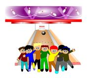 Kids in bowling alley having fun Royalty Free Stock Images
