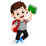 Kids boy carrying book cartoon Royalty Free Stock Photo
