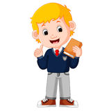 Kids boy carrying book cartoon Royalty Free Stock Image