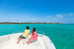 Kids at boat tour. Kids boy and girl enjoying vacation with private boat tour Stock Photos