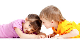 Kids boy and girl playing together Royalty Free Stock Photos
