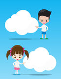 The kids boy and girl pointing at the blank cloud with copyspace Stock Photography