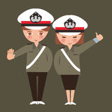Kids boy and girl wearing police cop uniform children dreaming their profession occupation Royalty Free Stock Photo