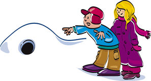 Kids boy and girl at winter. Illustration of boy and girl at winter time Royalty Free Stock Photo