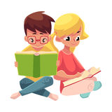 Kids, boy in glasses, blond girl with ponytails, reading books Stock Photos