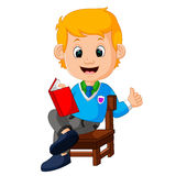 Kids boy reading book. Illustration of kids boy reading book Royalty Free Stock Photography