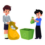 Kids, boys collect plastic bottles into garbage bag, waste recycling. Concept, cartoon vector illustration isolated on white background. Two children, boys Stock Photo