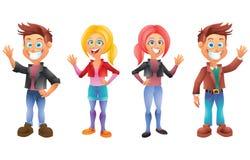 Kids, boys and girls, cartoon characters set 3 Stock Image