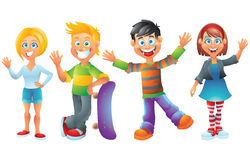 Kids, boys and girls, cartoon characters set 2 Royalty Free Stock Image